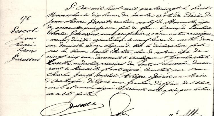 1880 S Jean henri LESCOT époux garassus